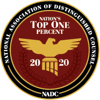 National Association of Distinguished Counsel Nations Top One Percent 2019